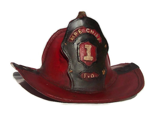 Red Fire Chief's Helmet Ceramic Still Bank