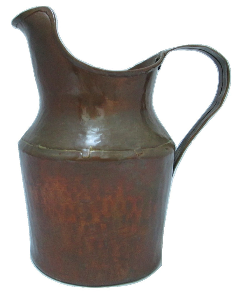 Antique Hammered Copper Syrup Jug With Funnel Spout Dovetailed 1800's