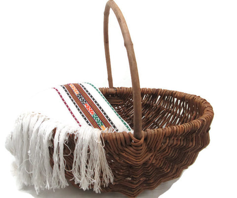 Rustic Melon Basket | Hand Woven Vines Eight Ribs Branch Handle