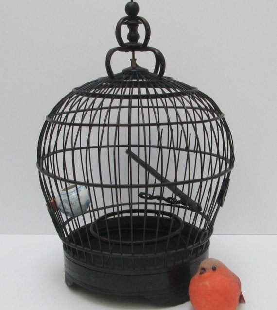 Vintage Chinese Black Bamboo Bird Cage With Porcelain Feeding Bowl