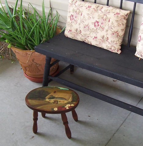 Charming Oval Wooden Stool with Turned Legs and Cottage Painting