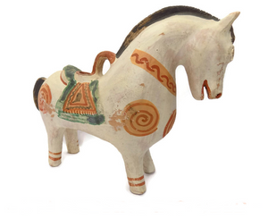 Peruvian Folk Art  Terracotta Horse Form Sculpture