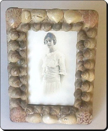 Edwardian Woman Photo in Shell Frame