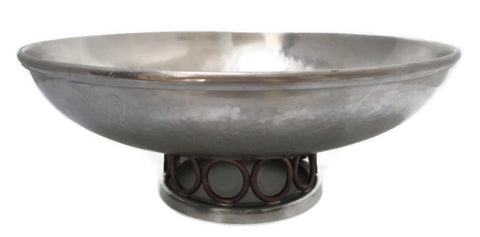Porter Blanchard Planished Pewter Bowl With Copper Accents