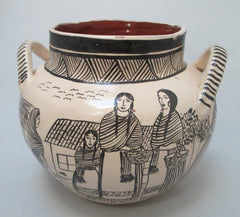 Angelica Morales Gamez  Hand Painted Mexican Pot - Dated 1988 Side two