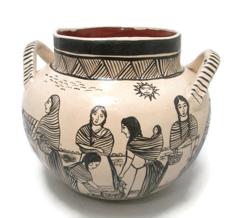 Angelica Morales Gamez Hand Painted Mexican Pot - Dated 1988 Main View