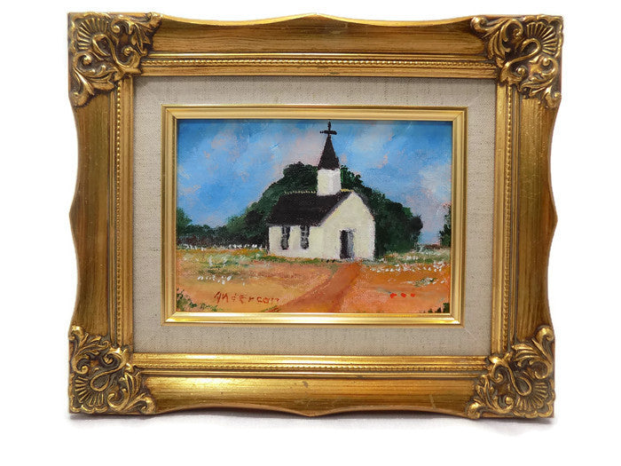 "Vintage Beth Anderson Folk Art Oil Painting, Round Top, TX, Artist /""World's Smallest Catholic Church"" Signed and Gold Framed"