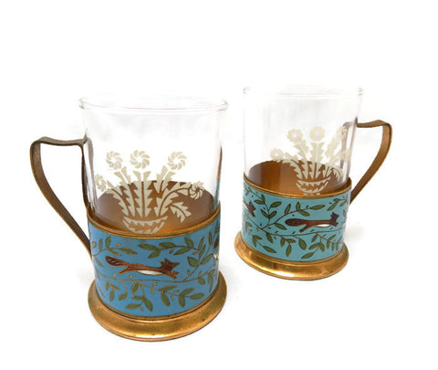 Cloisonné Russian Tea Glass Holders With Etched Glasses 1950s Podstakanniks