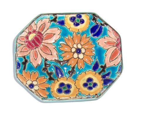 Longwy French Faience Pottery Pin Dish