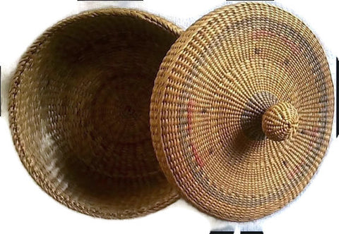 Native American Sweetgrass Basket Round Lidded Top Dyed Decorations lid off