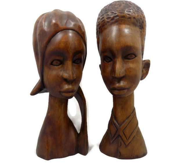 Tall Wood Sculptures Black Couple Hand Carved Signed Abner & Dated