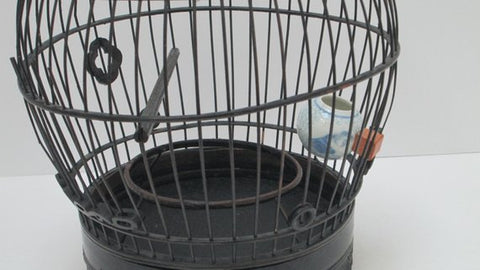 black chinese bamboo bird cage- with porcelain feeding bowl.jpg