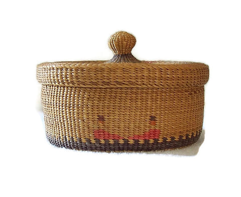 Native American Sweetgrass Basket Round Lidded Top Dyed Decorations.jpg