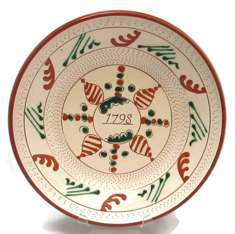 Redware Bowl Slip Decorated by Hallstan Keramics Swedish Folk Art