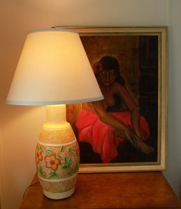 Chalkware Lamp 1960s Continental Studios Signed CarsuKe with taylor oil painting