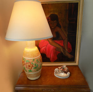 Chalkware Lamp 1960s Continental Studios Signed CarsuKe with Taylor Painting and shell pin dish