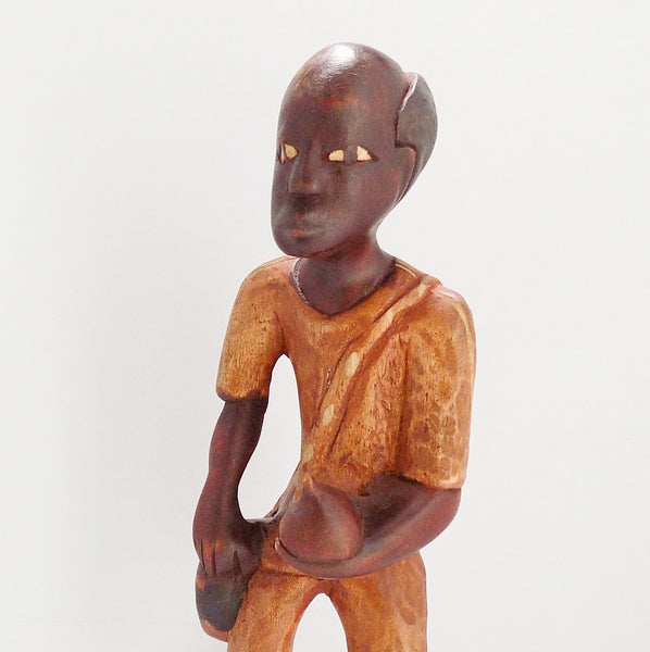 Folk Art Haitian Wood Carving Statue From Jacmel Chest View