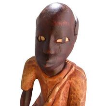 Folk Art Haitian Wood Carving Statue From Jacmel Face View