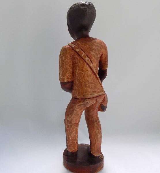 Folk Art Haitian Wood Carving Statue From Jacmel Back View