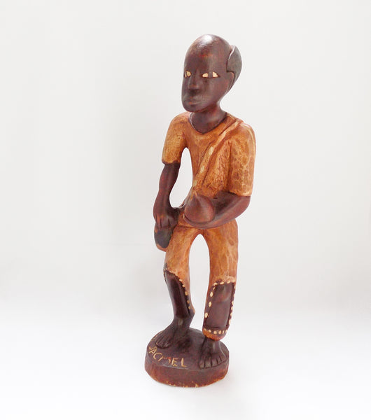 Folk Art Haitian Wood Carving Statue From Jacmel Side and Front View