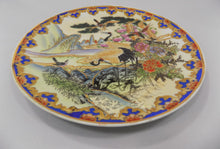 Elaborate Chinese Platter With Moriage and Gilding Hand Painted Tilted