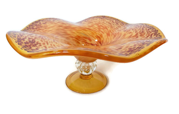 Art Glass Tazza Modern Speckled Centerpiece full view