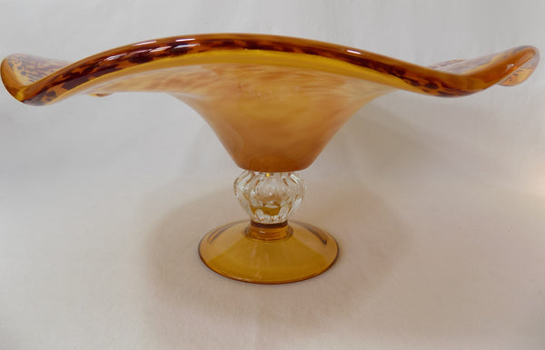 Art Glass Tazza Modern Speckled Centerpiece  side view