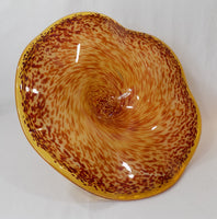 Art Glass Tazza Modern Speckled Centerpiece center view