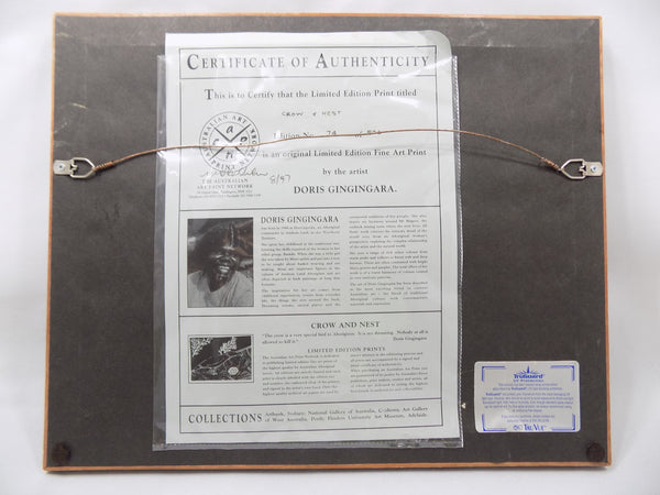 Aborigine L E Print With COA by Doris Gingingara, 1994 full back view of framed print