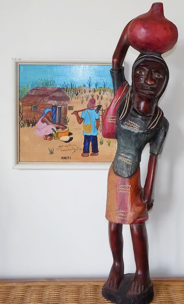 Haitian Wood Sculpture Tall Island Woman Polychrome Paint full front view with Haitian Painting