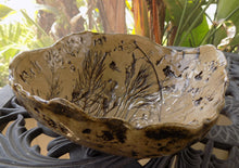 Studio Art Pottery Bowls, 1980s Signed and Dated Pair With Leaves, Branches and Shells on table