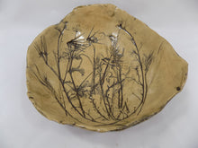 Studio Art Pottery Bowls, 1980s Signed and Dated Pair With Leaves, Branches and Shells inside view