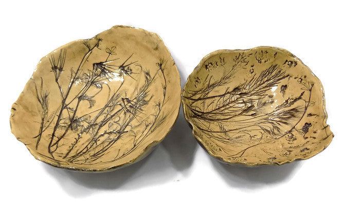 Studio Art Pottery Bowls, 1980s Signed and Dated Pair With Leaves, Branches and Shells