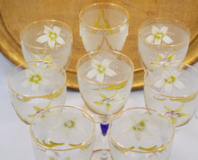 Barbini Italy Vintage Wine Glasses Lead Crystal Hand Painted Set of Eight View