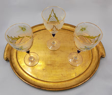 Barbini Italy Vintage Wine Glasses Lead Crystal Hand Painted Set of Eight three on gold tray