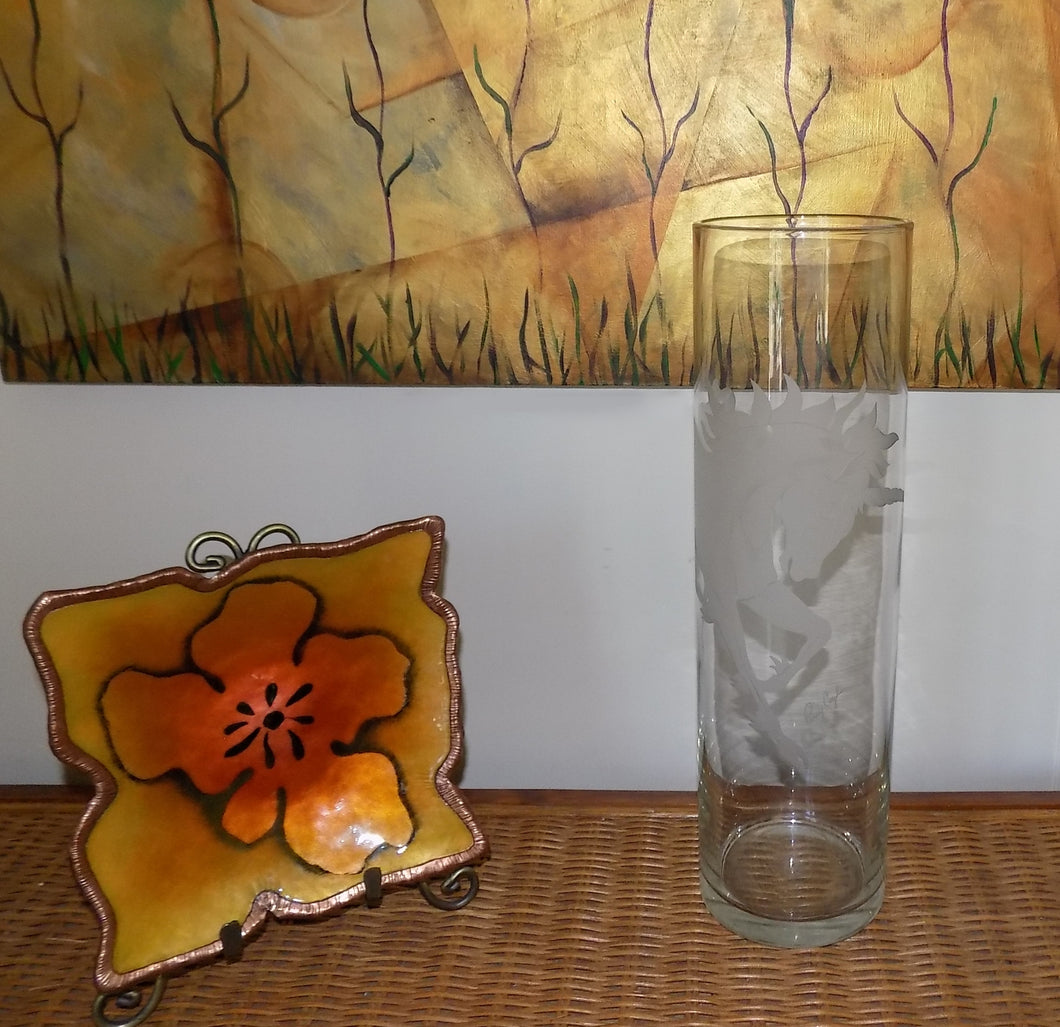 Etched Glass Unicorn Vase by Former Steuben Glass Artist Perry Coyle  with dish and painting