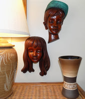 German Boy and Girl Achatit Werkstätten 1960's Wall Masks with lamp and vase