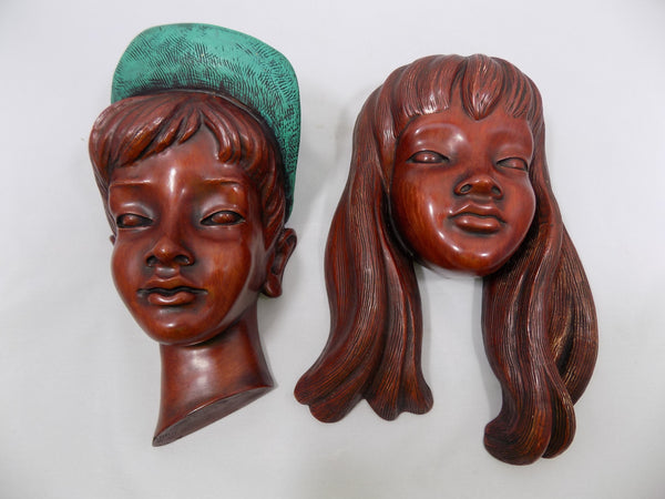 German Boy and Girl Achatit Werkstätten 1960's Wall Masks 2