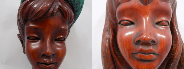 German Boy and Girl Achatit Werkstätten 1960's Wall Masks close up