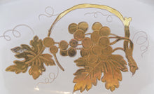 Mid Century Modern Zaccagnini Bowl Italian Gilded Art Pottery 1937-1958 Close ups of gold grapes