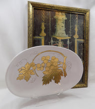 Mid Century Modern Zaccagnini Bowl Italian Gilded Art Pottery 1937-1958 On stand with framed art