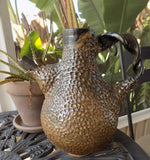 Brutalist Art Pottery Pitcher by Eugenia Meltzer, Signed/Dated 1996 with Aloe plant on table