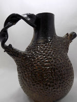 Brutalist Art Pottery Pitcher by Eugenia Meltzer, Signed/Dated 1996 spout right
