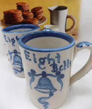 "Stoneware Dorchester Pottery Works Pair of Mugs by Knesseth Denisons ""Eight Bells""  with cookies and pitchers"