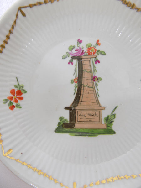 Antique Wallendorf, Germany Hand Painted Porcelain Bowl 1787-1833 In Memoriam center close up view