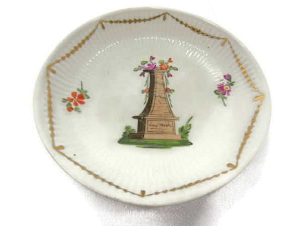 Antique Wallendorf, Germany Hand Painted Porcelain Bowl 1787-1833 In Memoriam