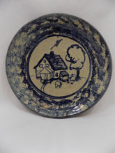 Carole Berhorst Vintage 1991 Stoneware Dish Signed and Dated full front view-blue plate with house and tree
