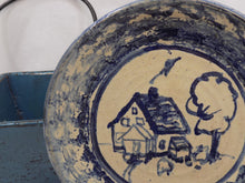Carole Berhorst Vintage 1991 Stoneware Dish Signed and Dated blue plate with house and tree