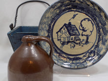 Carole Berhorst Vintage 1991 Stoneware Dish Signed and Dated plate with blue wood bucket and small brown jug