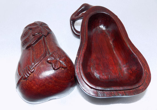 Chinese Vintage Box Hand Carved Rosewood Chayote Shape open showing inside view